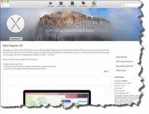 Screenshot of Mac App Store showing OS X Yosemite