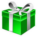 Present box, green with white bow