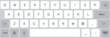 ipad alphanumeric typing keyboard