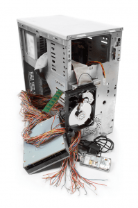 Image from Shutterstock, picture of a partially disassembled computer