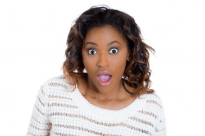 Girl with surpised look on her face, image from Shutterstock