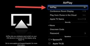 Apple TV Airplay Menu