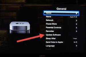 Apple TV Update Software Menu
