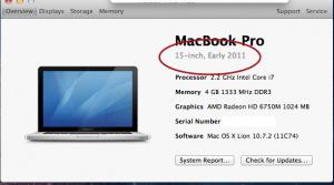 Macbook Pro Model Identification