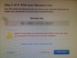 Apple 2-factor authentication recovery key screenshot
