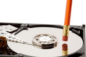 Image of a hard drive with a pencil eraser, from Shutterstock