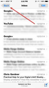 Screenshot of iOS Inbox