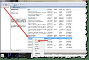 Screenshot of Windows Update service options
