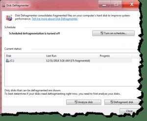Screenshot of Windows 7's Disk Defragmenter window
